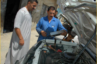Omar, the brother of my host and Basaam, the mechanic checking the battery on the truck