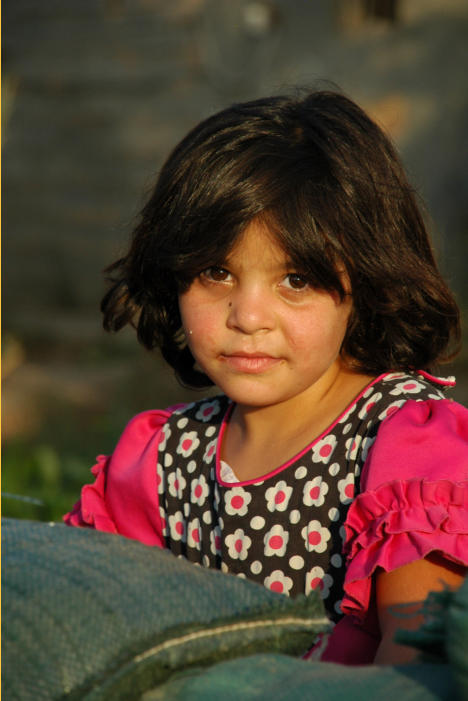 The daughter of one of the brothers sitting on sandbags.  She is just beautiful and has a look in her eyes that is captivating. It is this look that keeps me hoping Iraq will overcome its' current situation